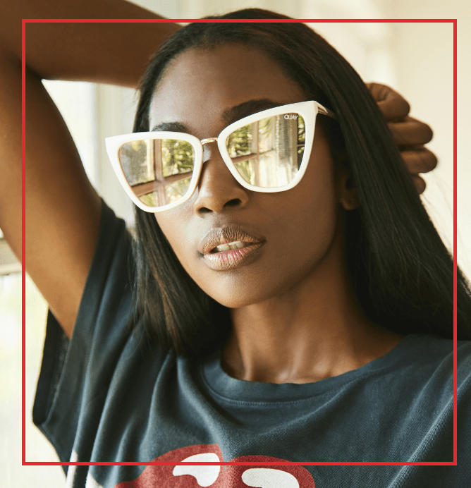 All Things Tall Model wearing sunglasses